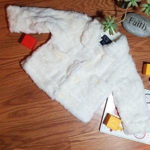 Winter white fur jacket children place